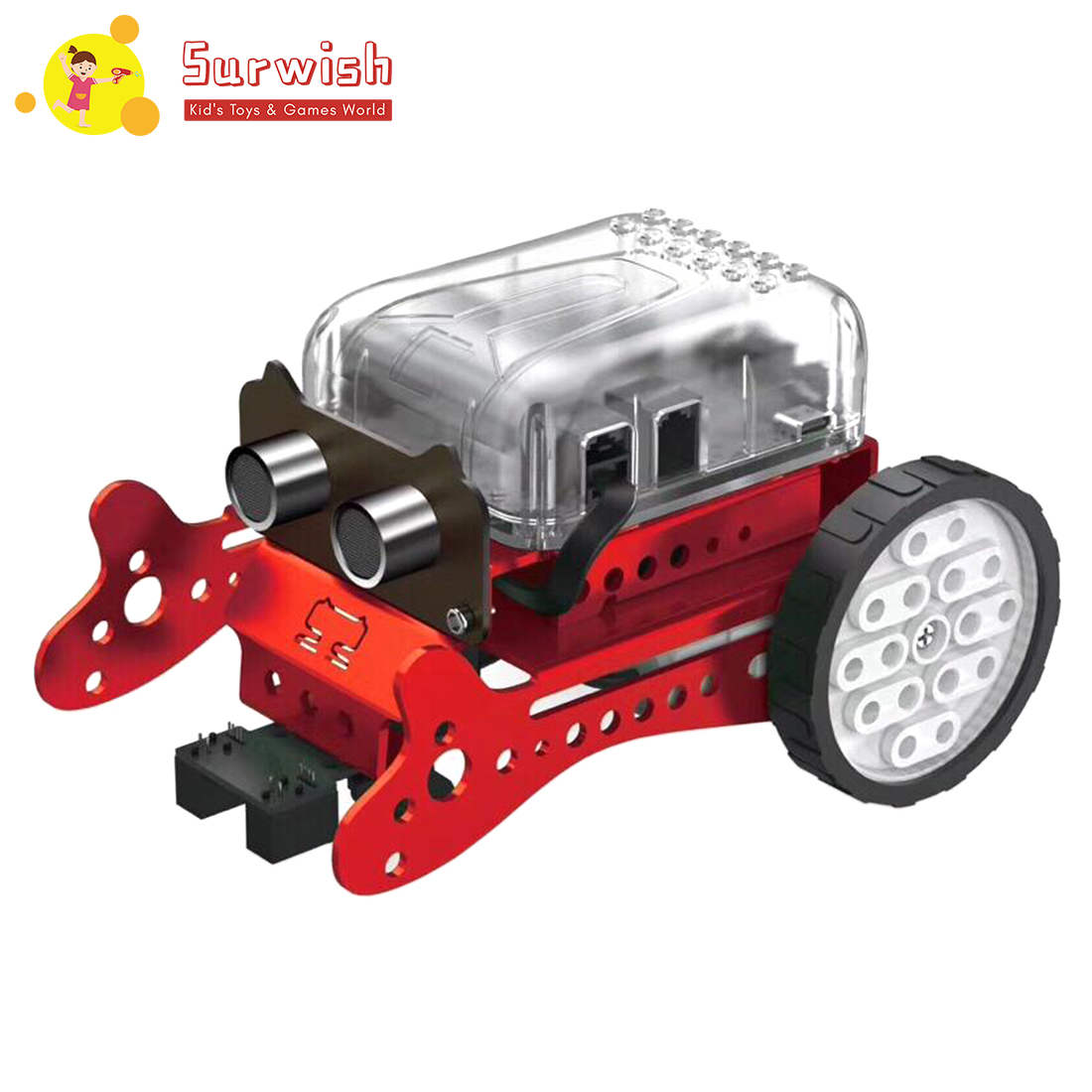 Surwish DIY Neo Programming Scratch Intelligent Obstacle Avoidance Car Robot Kit - Red/Green