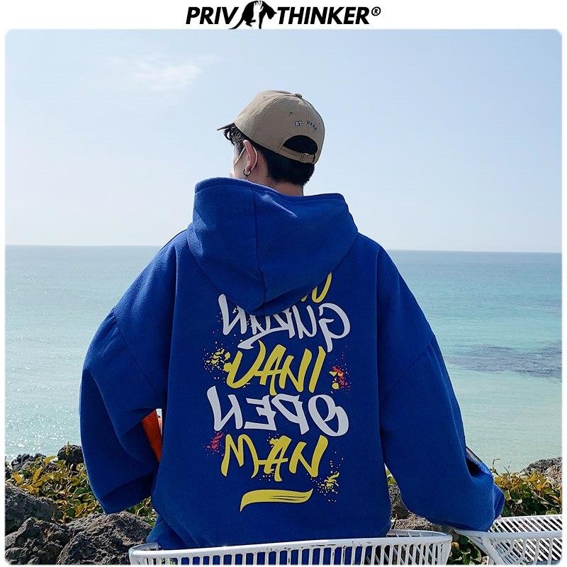Privathinker 2019 Men Street-style Letter Print Hooded Sweatshirts Mens Autumn Hip Hop Hoodies Male Loose Oversize Sweatshirt