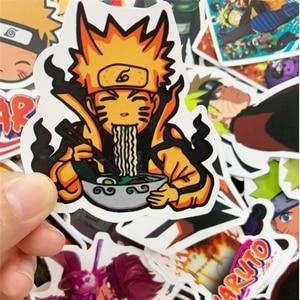 Image 5 - Pegatinas de vinilo de dibujos animados de Naruto sasuke para Snowboard, portátil, equipaje, nevera, coche, estilo japonés, lote de 50 unidades