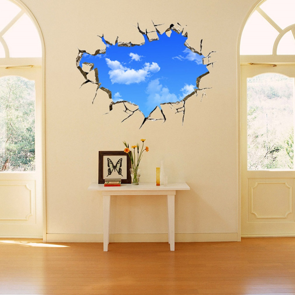 50*70cm PVC Wall Sticker Creative Blue Sky 3D Stereo Ceiling Decals Removable Art Decoration For Living Room Bedroom