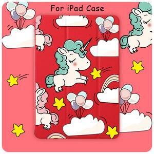 Чехол для планшета iPad Mini 5 4, чехол для планшета с функцией автоматического сна, мультяшный милый Единорог для iPad Air 3 11 Pro 2020, защитный чехол из ...