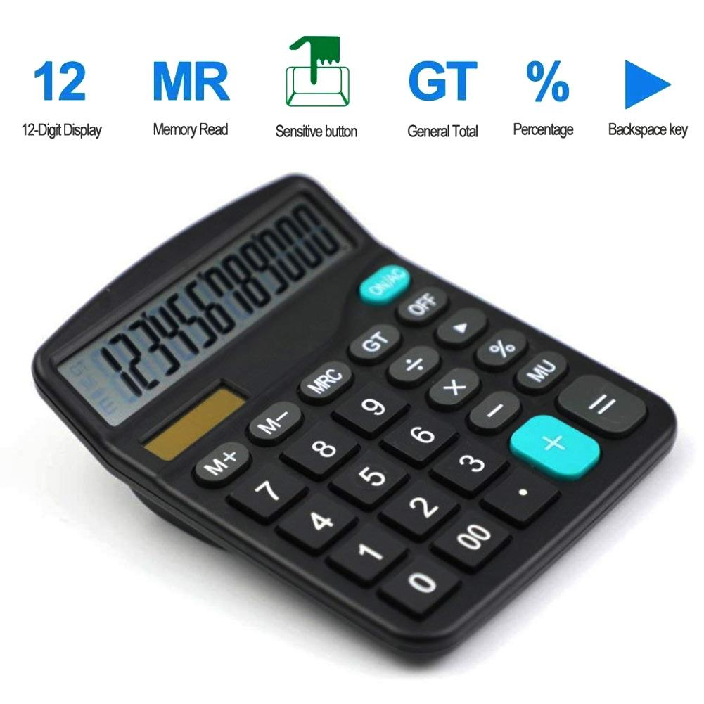 12-Digit Solar Powered Large Display Calculator Home Office Accountant Tools General Purpose Calculator