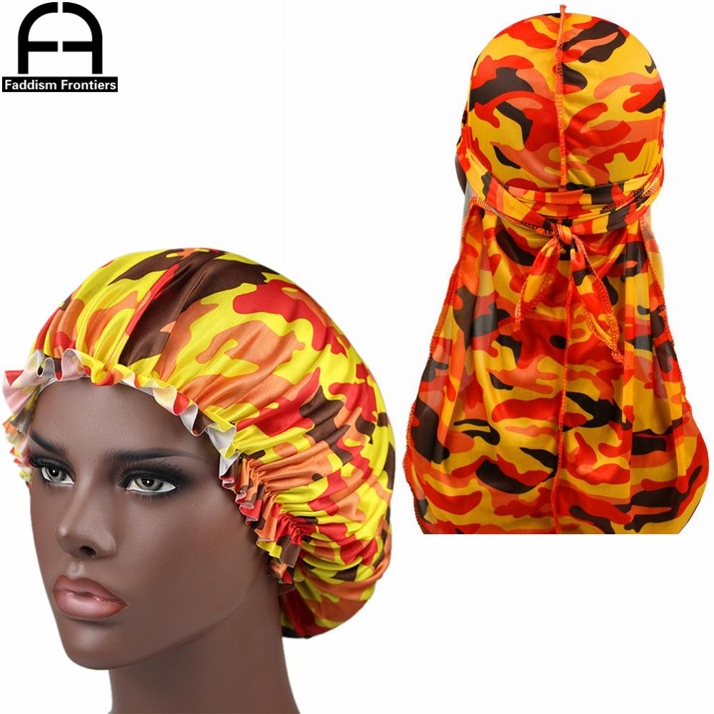 Camo Silky Durag Match Bonnet Women Camo Pattern Print Fabric Ankara Bonnets Sleeping Cap Ladies Turban