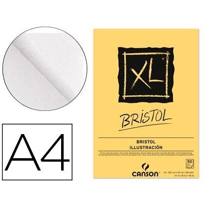 NOTEPAD DRAWING CANSON XL BRISTOL DIN A4 EXTRALISO GLUING 21X29,7 CM 50 SHEETS 180 GR
