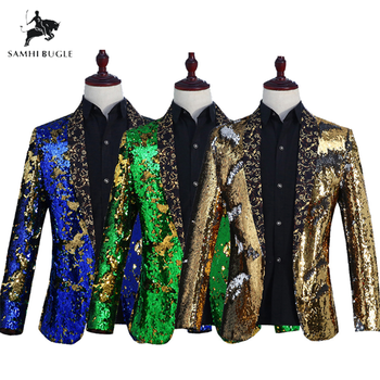SAMHI BUGLE Fashion Purple Colorful Velvet Sequins Blazer Masculino Slim Fit Men Suit Jacket Stage Singer Costume Shiny Blazers
