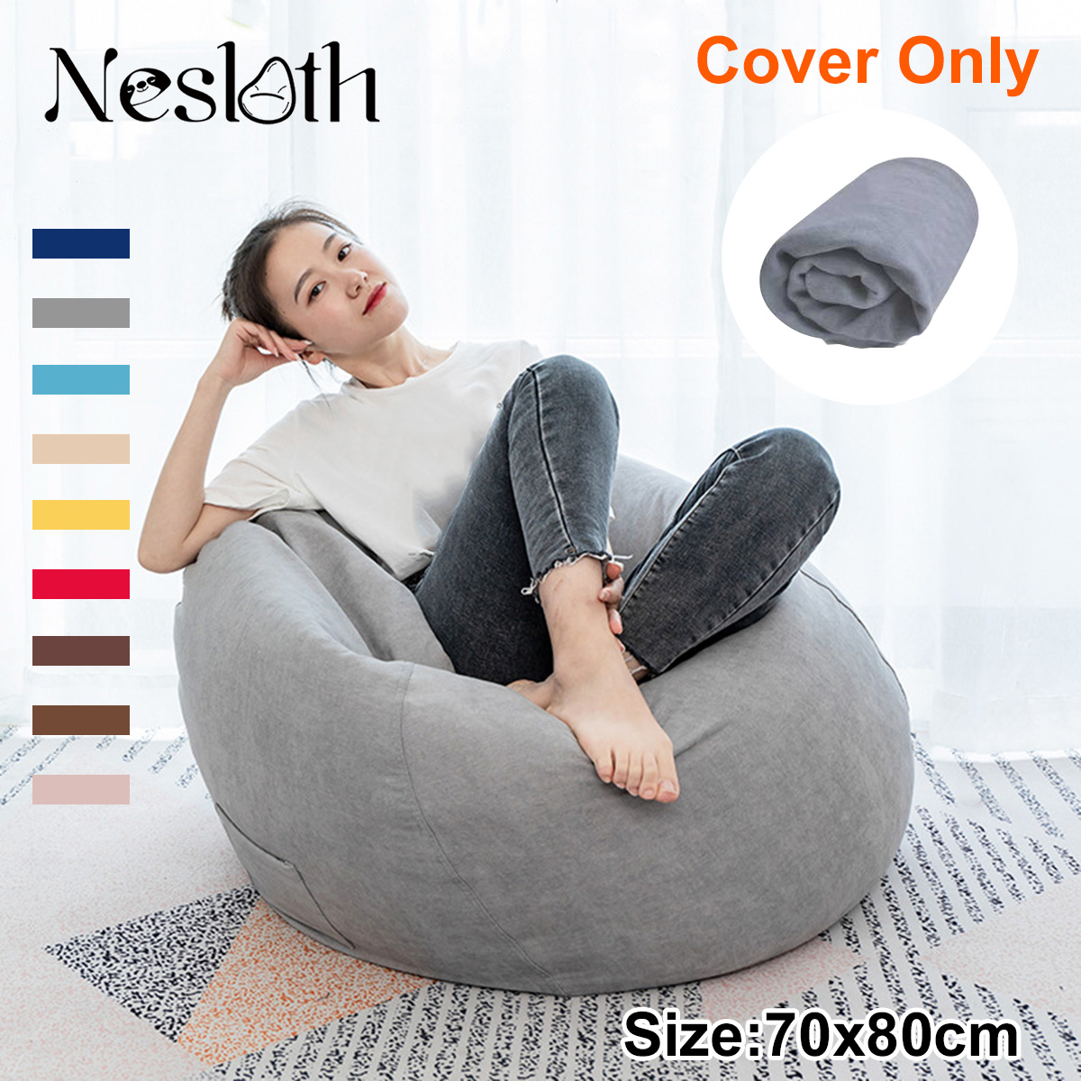 Nesloth Lazy BeanBag Sofa Cover Chair Without Filler Velvet Lounger Seat Bean Bag Pouf Puff Couch Tatami Living Room 70x80cm New