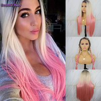 Beautiful Diary Silky Straight Synthetic Full Lace Wig Ombre Wig Heat Resistant Synthetic Wigs For Women Futura Cosplay Wig