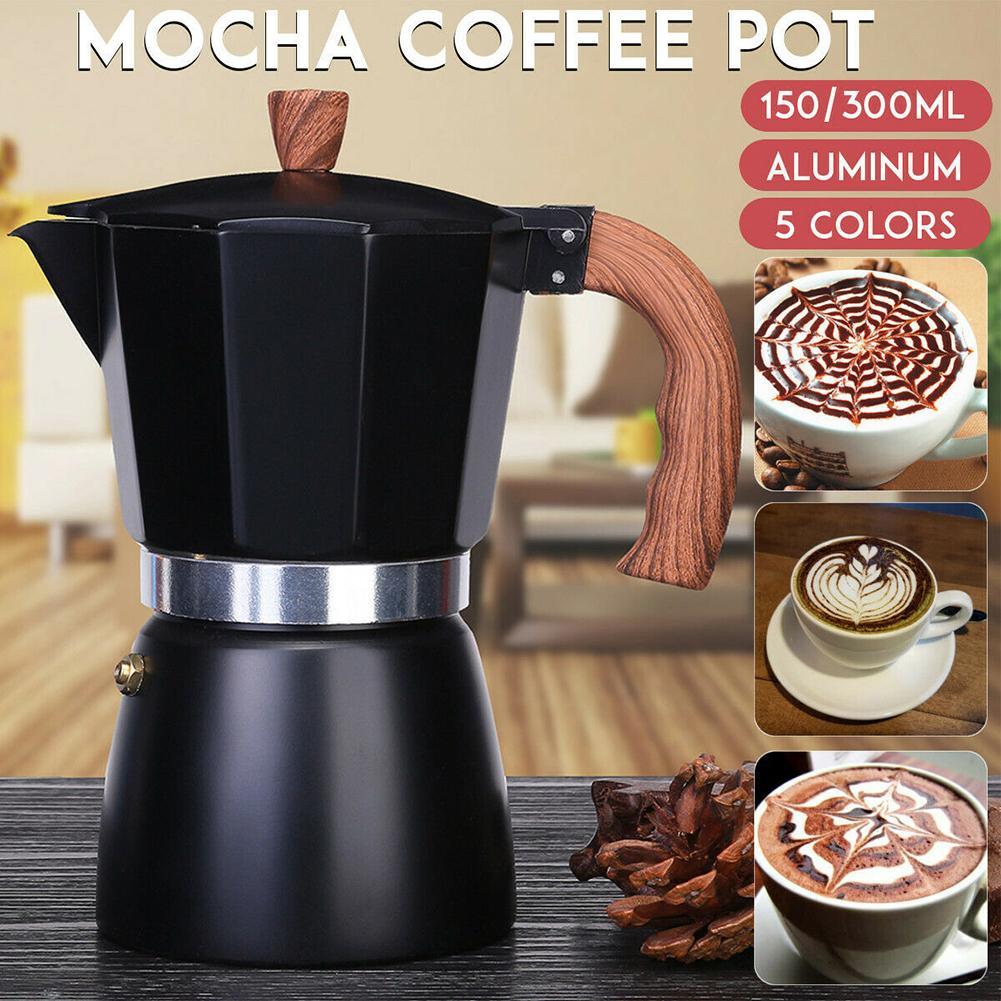 Чайник для кофе, алюминиевый, итальянский стиль, кофеварка для эспрессо, плита, чайник, портативный, с длинной ручкой, кухонные чайники, 150 мл/...