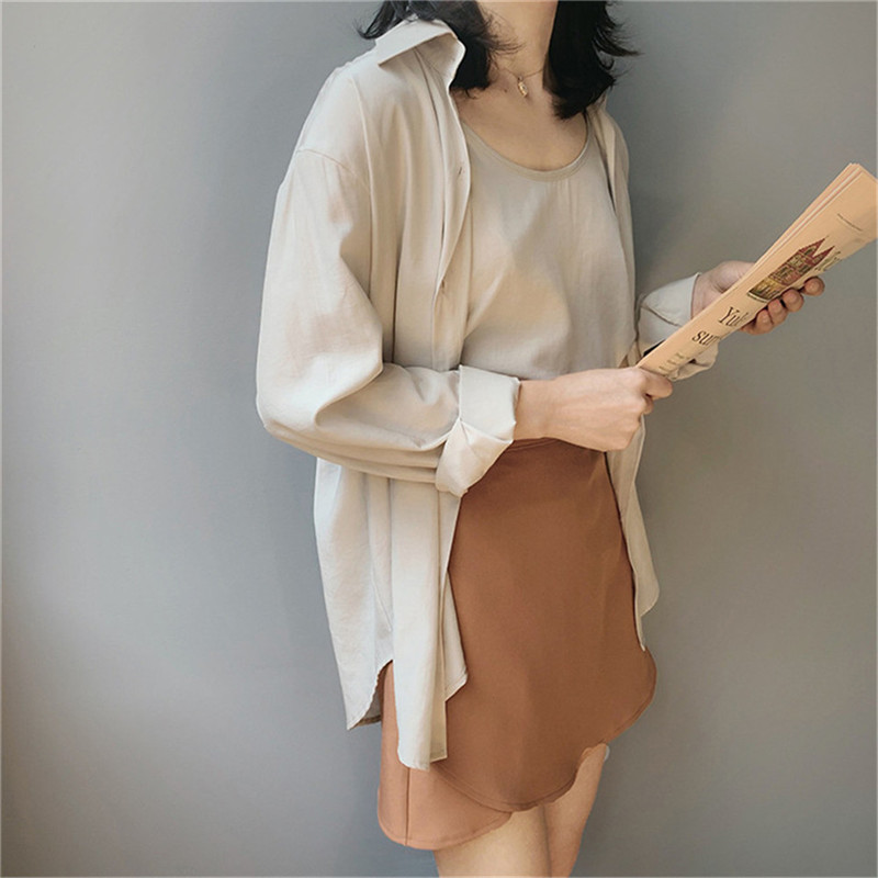 High quality 2pcs Women Blouse Shirt 2020 Summer Solid All match Satin Blouses Shirts Femal Blouse+halter tops Z1082 (32)
