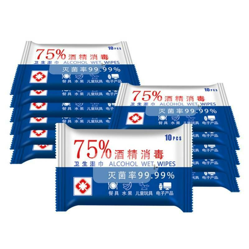 10sheets/Pack Portable 75% Alcohol Wet Wipes Antiseptic Cleaning Sterilization Wipes Wet Wipes Health Care Disinfection