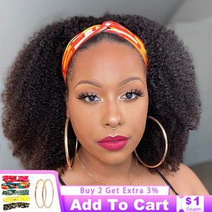 Afro Kinky Curly Headband Wig Human Hair Wig Short Curly Full Machine Made Human Hair Wig With Headband No Glue No Gel 150% Remy