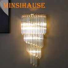 Post-modern Luxury Crystal Wall Lamp Modern Led Lamp Living Room Bedroom Bedside Lamp Home Decor Fixture Gold Wall Sconce Light crystal wall lamp wall lights sconce bedroom bedside lamp candle double wall lamp for bedroom living room restaurant beside lamp
