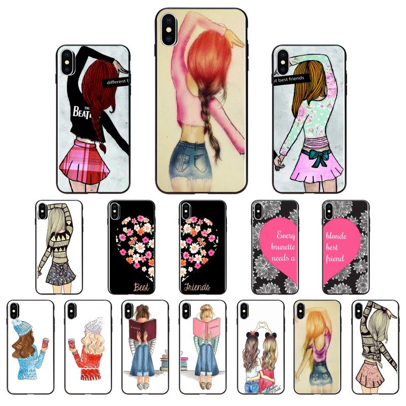 Best Friends BFF two girls Soft black Phone Case For Apple iPhone 11 8 7 6 6S Plus X XS MAX 5 5S SE XR 11 pro Cover Coque Shell image