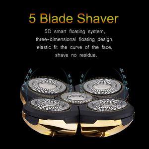 Image 5 - JINDING máquina de afeitar eléctrica recargable para todo el cuerpo, afeitadora con cabeza flotante 5D para hombre, Afeitadora eléctrica resistente al agua D40