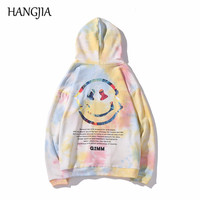 Smiley Face Print Funny Hoodies for Men Autumn Winter Tie Dyeing Hip Hop Hooded Pulovers Streetwear Harajuku Men Women Coats
