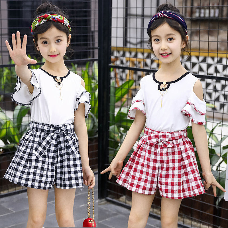 2021 summer Girls clothes Sets fashion print pattern Embroidery Children Tracksuit Children clothing suit baby 2Pcs 2-13 years