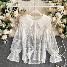 Spring Autumn Lace Bottoming Women's Shirt Lady Korean Clothing  Sexy Pleated Ruffled Collar Flared Sleeve Hollow Out Top Female