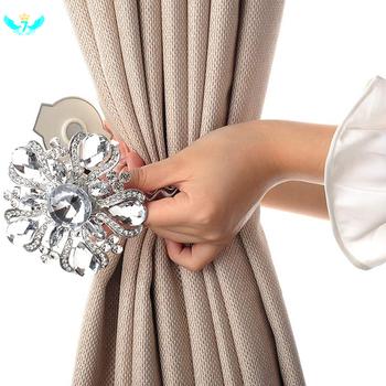 Taśma do marszczenia zasłon luksusowe duże kryształ magnetyczny taśma do marszczenia zasłon i uchwytów kwiatowych klipsy do zasłon klamra uchwyt kurtyny HTML tanie i dobre opinie Fabric Nowoczesne PLANT FHA4797 Ekologiczne