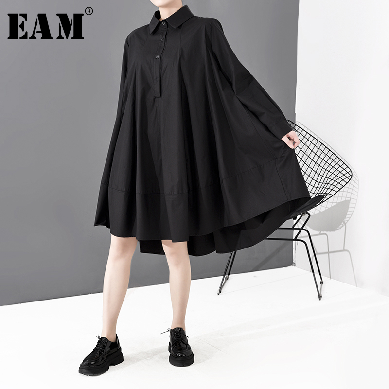 [EAM] Women Black Brief Back Long Big Size Shirt Dress New Lapel Long Sleeve Loose Fit Fashion Tide Spring Autumn 2020 1S700