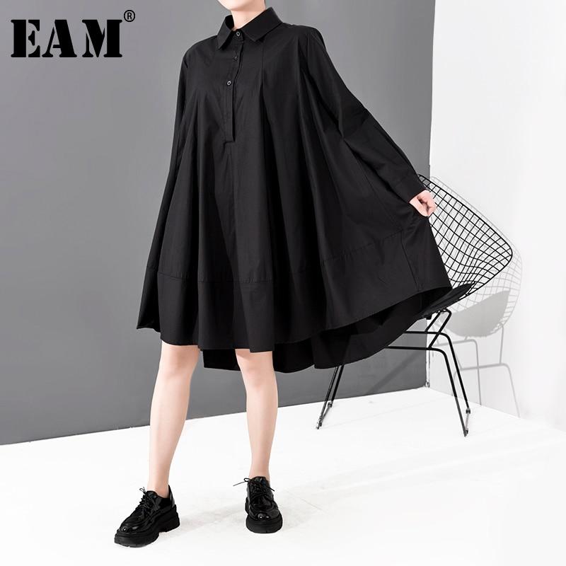 [EAM] Women Black Brief Back Long Big Size Shirt Dress New Lapel Long Sleeve Loose Fit Fashion Tide Spring Autumn 2020 1S700