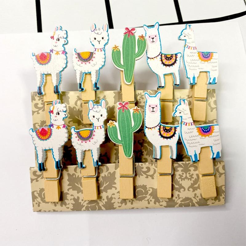 10pcs/lot Kawaii Fun Alpaca Wooden Clips Mini Photo Paper Craft Clip School Decoration Stationery With Hemp Rope