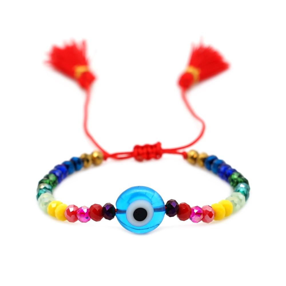GO2BOHO Турецкий Дурной глаз браслеты Радужный Браслет для женщин ювелирные изделия красочная Женская мода веревка приносит удачу