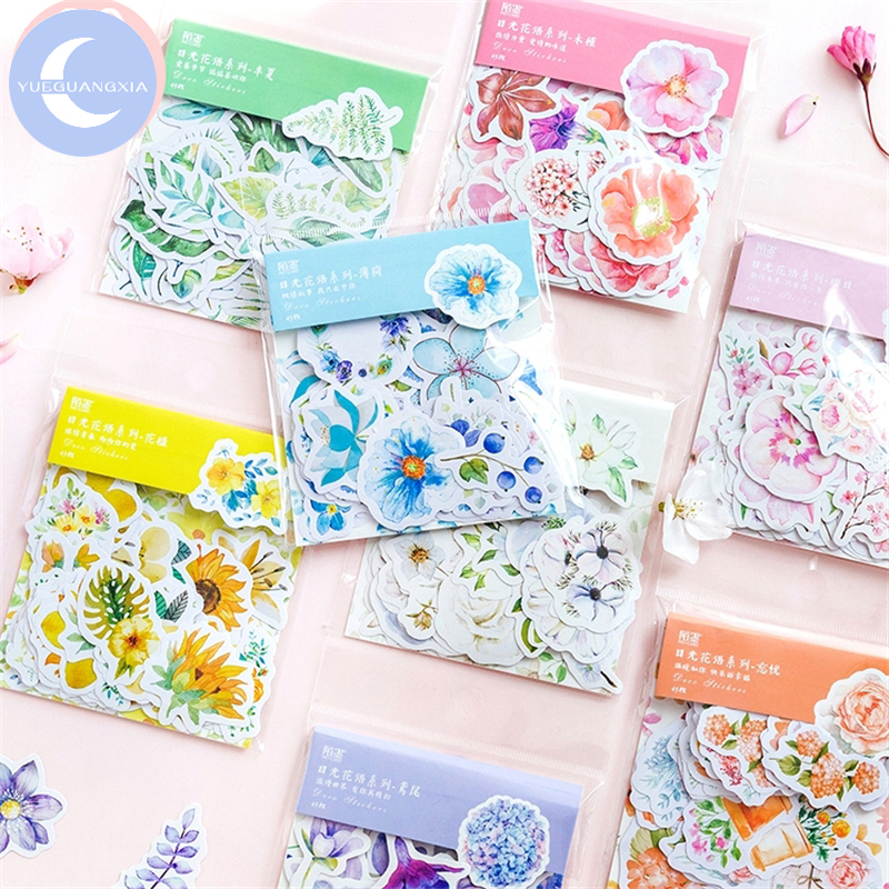 YueGuangXia 8 Colors Literary Flower Plant Stickers Scrapbooking Planner Bullet Journal Decorative Stationery Stickers 45Pcs/bag
