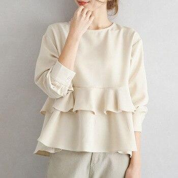 Casual Spring Women Blouse Ruffle  Falbala Korean Janpan Standard Loose Tops 2020 Female Long Sleeve  Plain Blouse Shirts turtleneck falbala patchwork plaid blouse