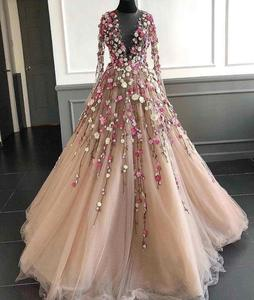 Image 1 - Pretty Champagne Evening Dresses With Illusion Full Sleeves Coloful 3D Flower A line Tulle Prom Gowns Formal Dress Abendkleider