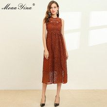MoaaYina Fashion Designer jurk Lente Zomer vrouwen Dress Lace Hollow Out Slim Elegant Midi Jurken
