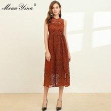 MoaaYina robe de créateur de mode printemps été robe pour femme dentelle évider mince élégant robes du Midi