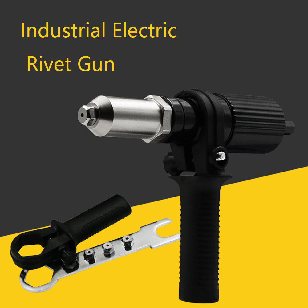 Electric Rivet Gun Riveting Adapter Cordless Drill Riveter Gun With Handle Nail Gun Aluminum Rivet Nut Guns Power Tools
