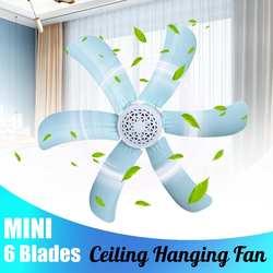 Niebieski cichy plastikowy energooszczędny mini wentylator sufitowy 6 turn page fan 220V wiszący wentylator miękki wiatr gospodarstwo domowe