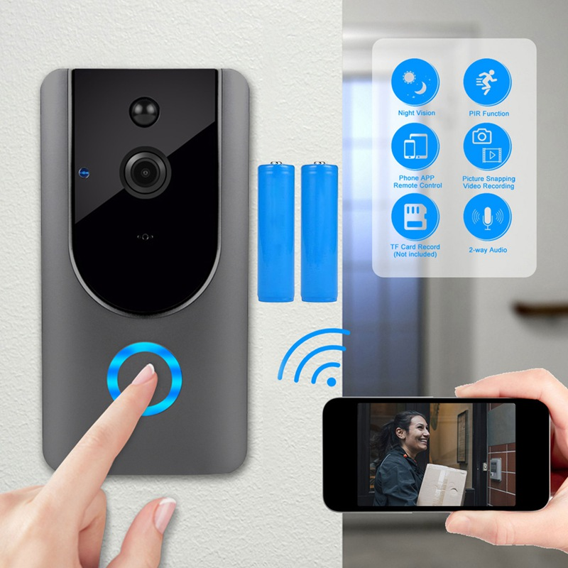 WIFI Doorbell Camera Intercom-Door Video Motion-Detection Smart Wireless 720P HD  title=