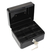 купить Lockable Cash Coin Money Storage Safe Security Box Holder Suitcase With Lock Key 6 Compartment Tray Black по цене 615.49 рублей