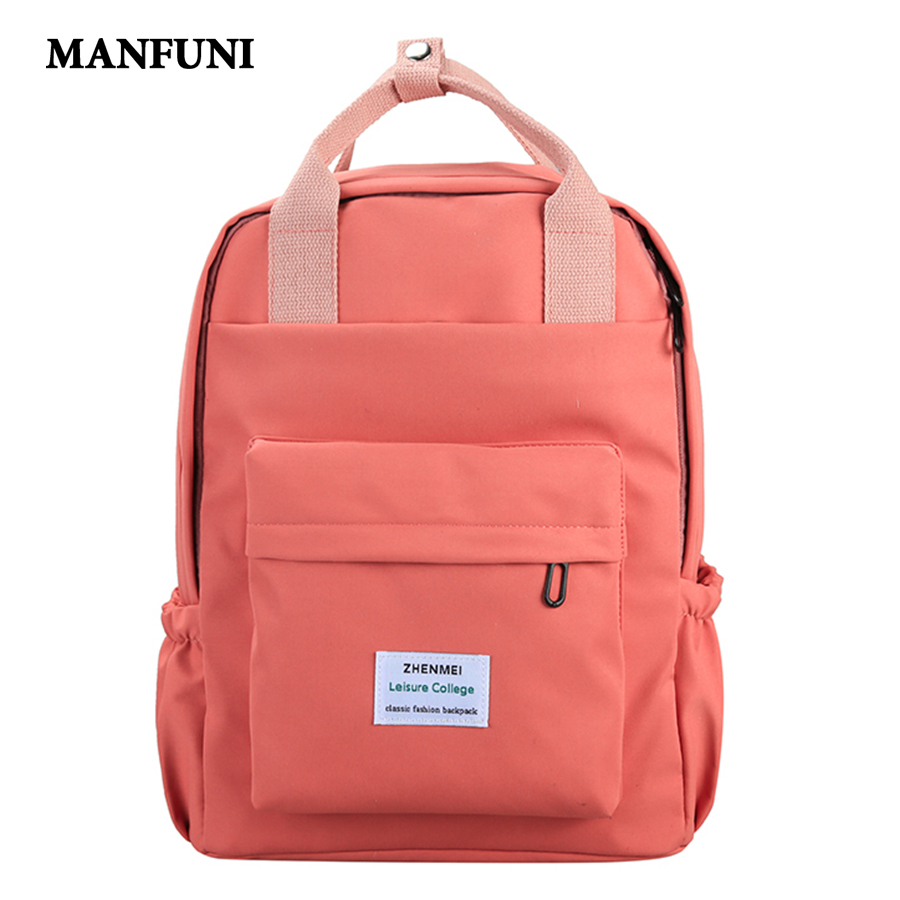 2019 Waterproof Nylon Women Backpack Female Solid Color Schoolbag Leisure Long Portable Travel Backpack Large Capacity Mochila