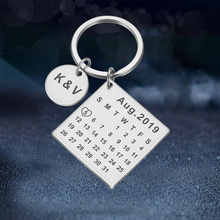 Personalized Custom Calendar KeyChain Stainless Steel Highlighted with Heart Date Engrave Date Wedding Anniversary Keyring Gift