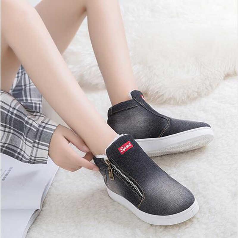 Kadın yarım çizmeler 2020 kış çizmeler kadın Denim kot çizmeler kadın kar botları kış ayakkabı büyük boy 35-44