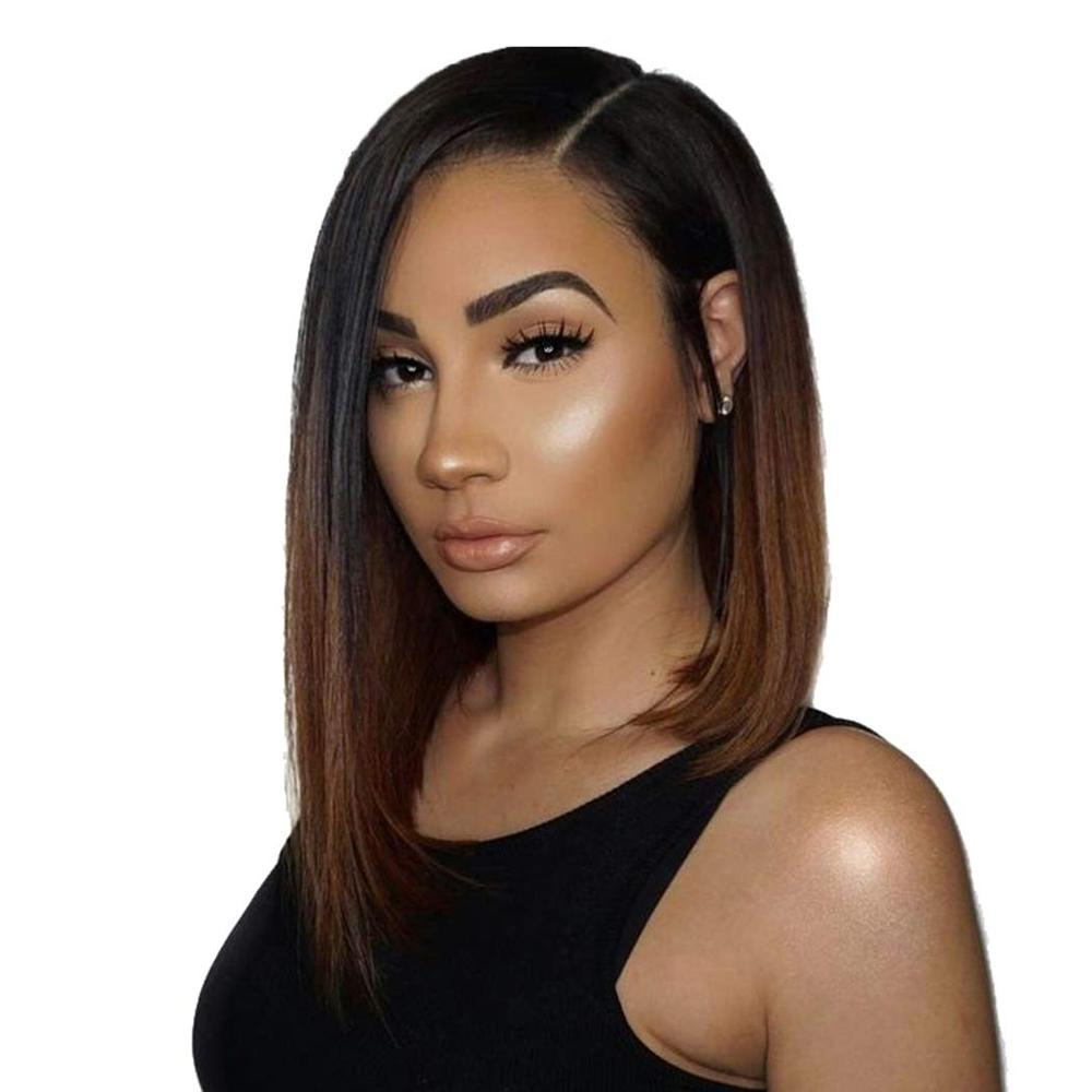 150% Density Ombre Short Human Hair Bob Wigs 4*4 Lace Closure Silk Base Wig Black Roots Remy Brazilian Silk Top Wig Pre Plucked