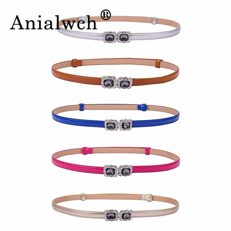 92*1.5cm Bouncing Waist Chain Black Diamond Buckle Women Belt Dress Black Thin Waist Seal Luxury Fashion Youth Girl Elastic Belt