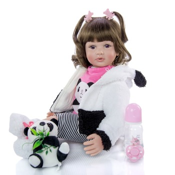 Exquisite 60cm big size reborn toddler princess in Panda clothes 3/4 Silicone Lifelike Baby doll girl bebe doll reborn toy gift