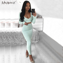 Mnealways18 Knitted White Two Piece Sets Women Crop Top Long