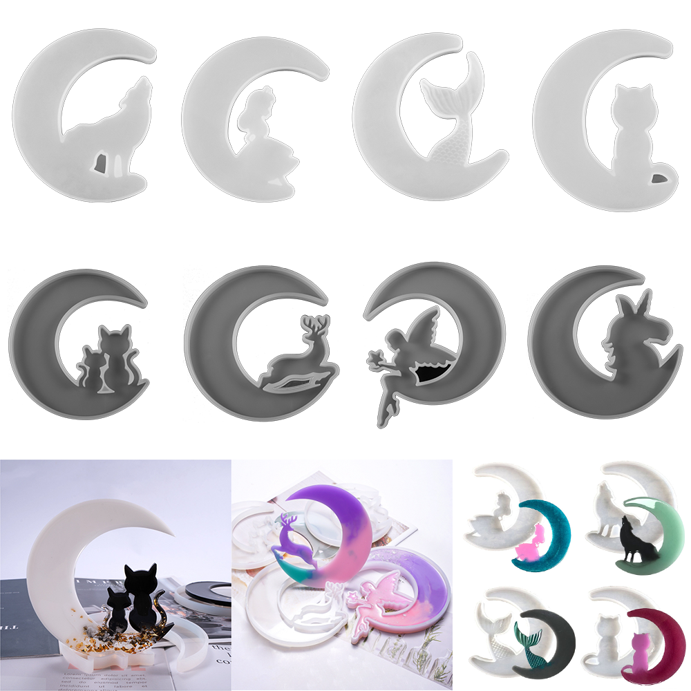 Smiley Moon Resin Mold Mirror Moon Fawn Cat Silicone Molds Wolf Angel Clay Plaster Casting Mould for DIY Crafts Epoxy Resin Tool