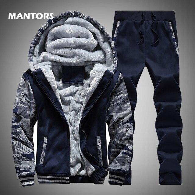 טלאי גברים של נים אימונית סט חורף צמר ספורט סווטשירט חליפת מותג בגדי גברים מעיל + מכנסיים 2PCS לעבות סטים
