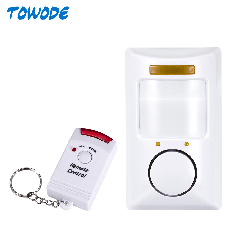 Towode Portable 110dB PIR Motion Detector Infrared Anti-theft Motion Detector Home Security Alarm system+2 controllers