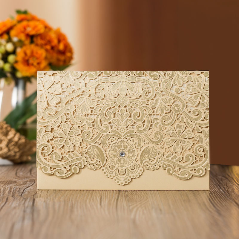 50Pcs Cut Luxury Flora Wedding Invitations Card Elegant Lace Print Envelopes Wedding Party Decoration
