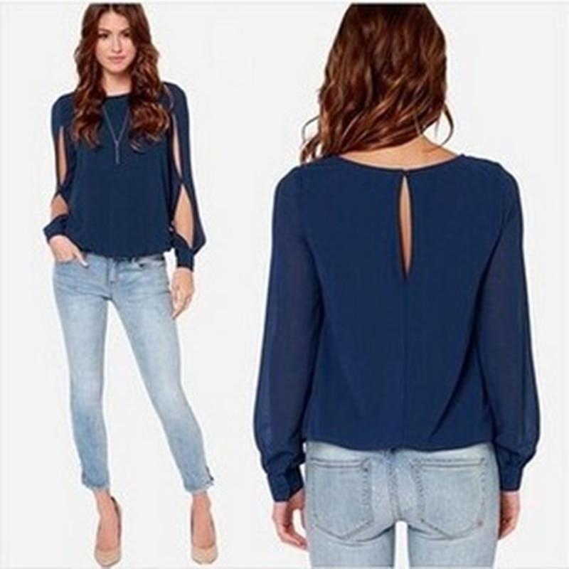 Spring And Autumn Clothing Fashion Loose Long Sleeve Chiffon Shirt Tops Women Hollow Long Sleeve O Neck Tee Shirt Casual Tops