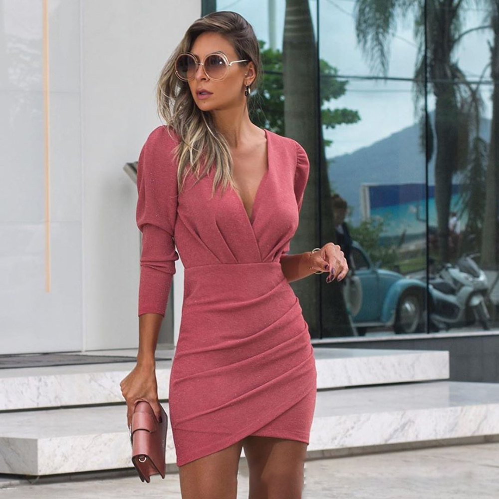 Women Dress Autumn Sexy Elegant Ladies Red Long Sleeve Ruched Slim Fitted Party Dresses For Women 2020 Fall Fashion Clothes 4
