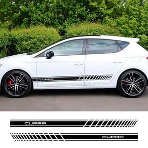 Pegatinas de rayas largas laterales para puerta de coche, 2 uds., para Seat Leon Cupra R 5F MK3, decoración de carrocería, pegatinas accesorios para coche