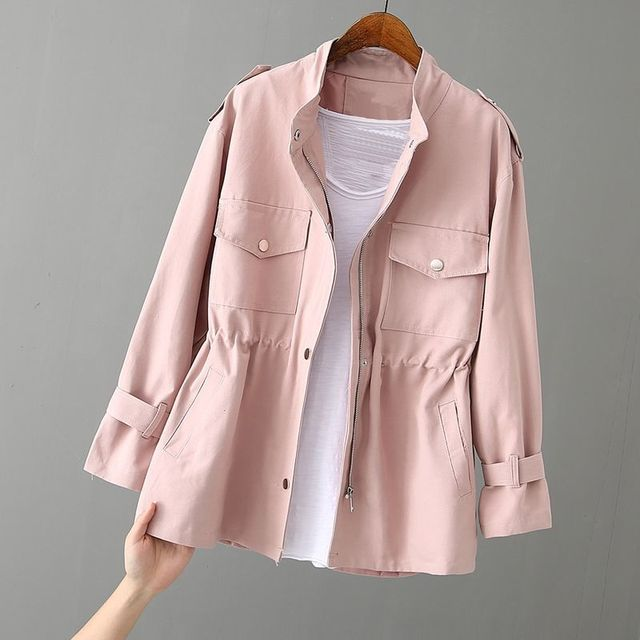 Autumn Peonfly Fashion 2021 Women's Casual Windbreaker Coat Stand Collar Overcoat Outerwear Coat Solid Color Lace Up Loose Coat 1